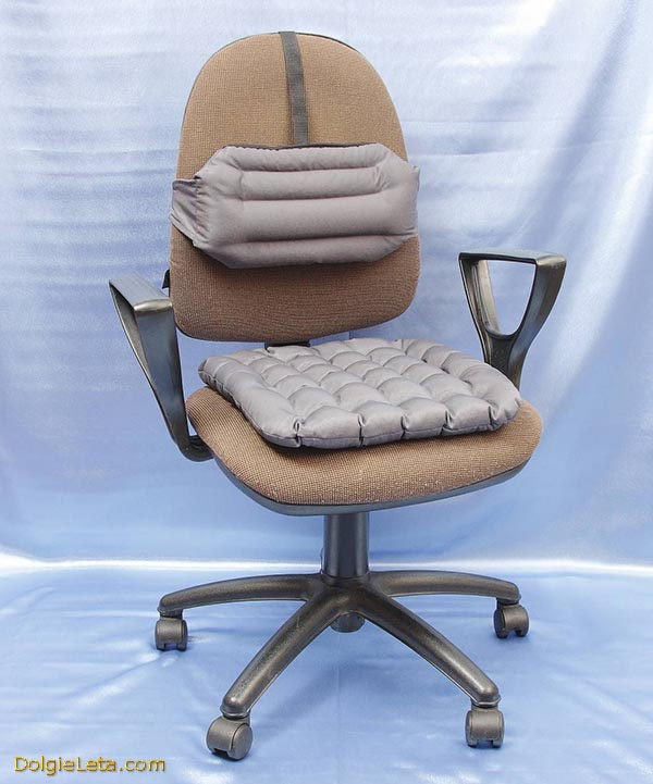 Фото ортопедических подушек для офисного кресла на сидение и под спину