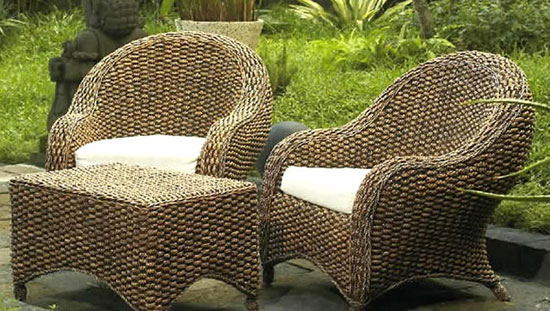 Искусственная плетеная мебель в интерьере