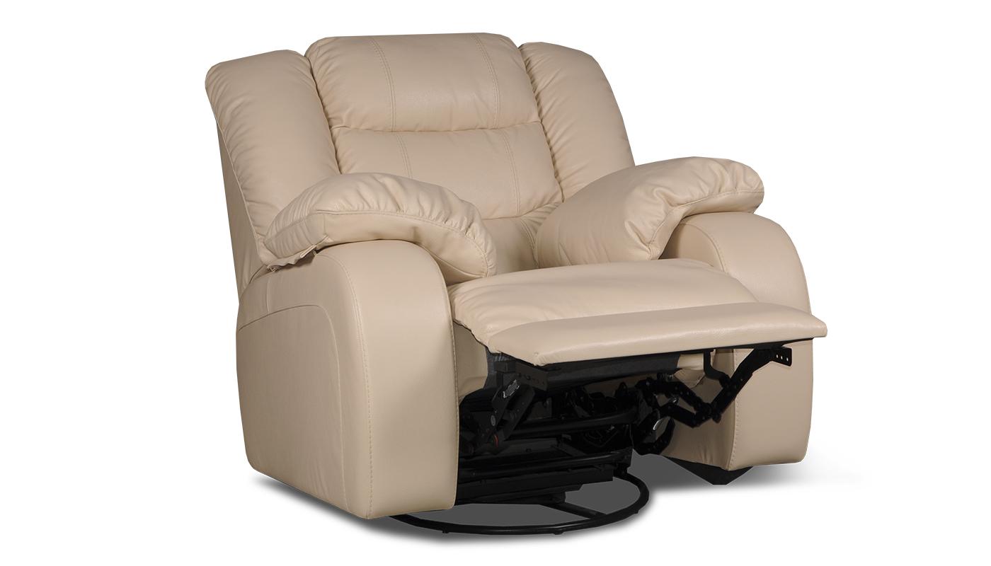 Кожаное кресло с подножкой