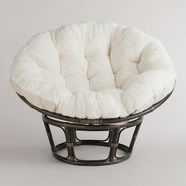 Мягкое кресло папасан в белом цвете