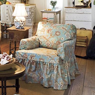 Чехол на кресло с оборками