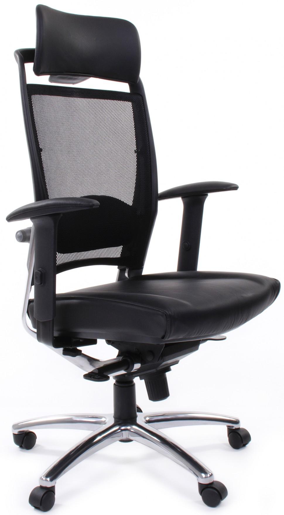 Кресло из кожи и сетки
