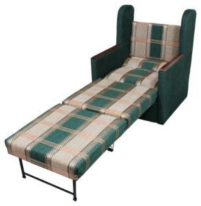 Кресло кровать с деревянными подлокотниками