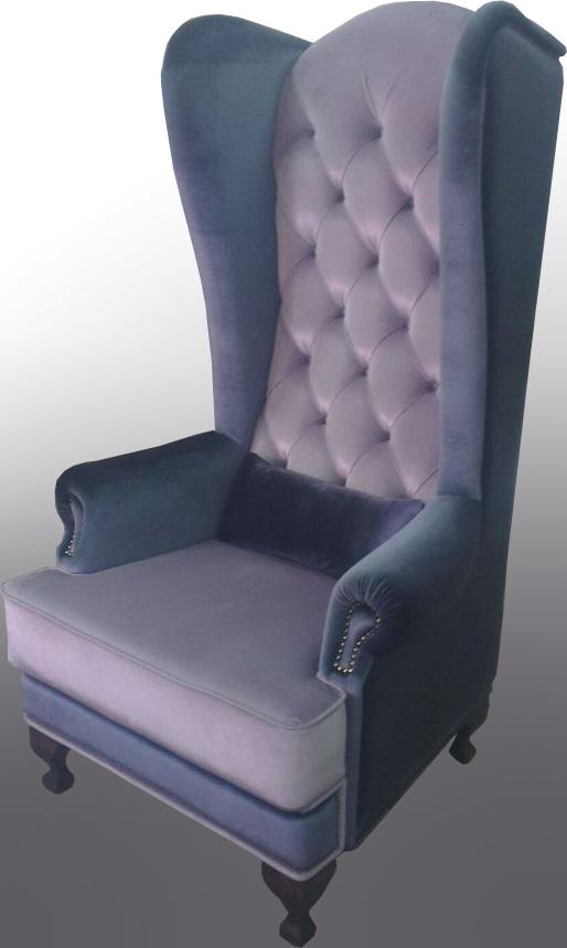 Кресло с высокой спинкой синее