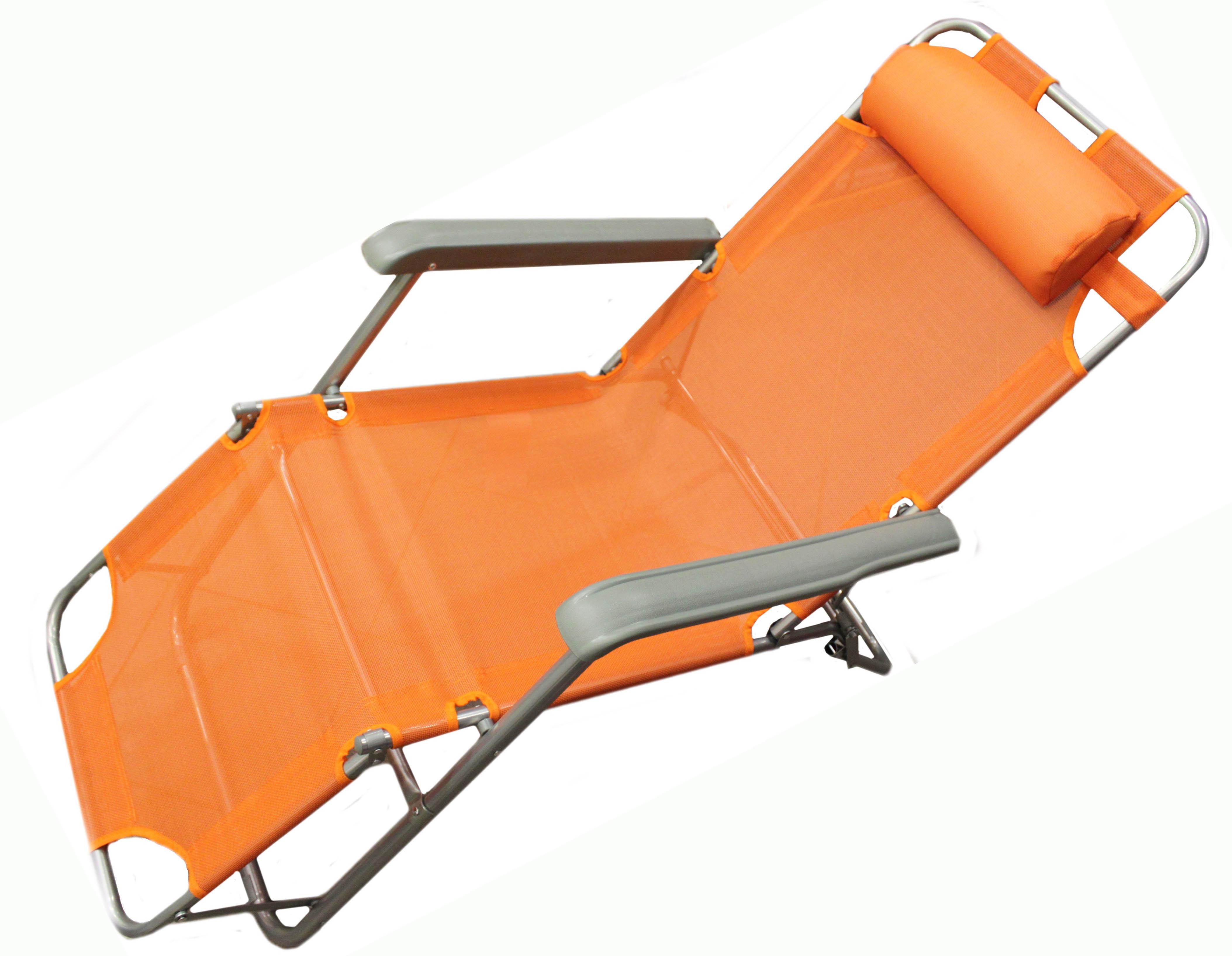 Раскладное кресло шезлонг оранжевое