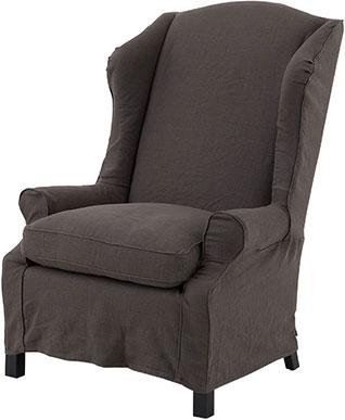 Серо-коричневое мягкое кресло из льна с высокой спинкой