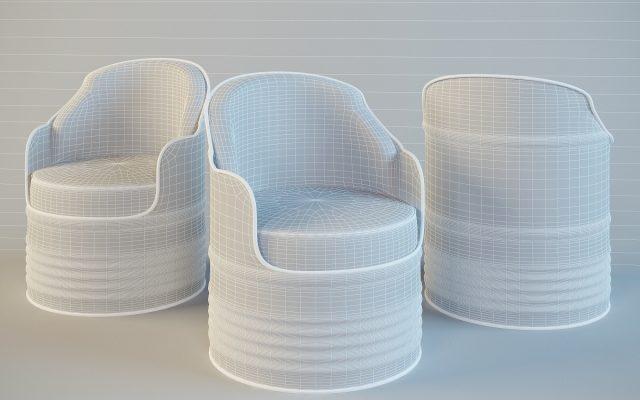 Белые кресла на основе бочек