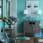 Дизайн комнаты с оригинальным бирюзовым цветом