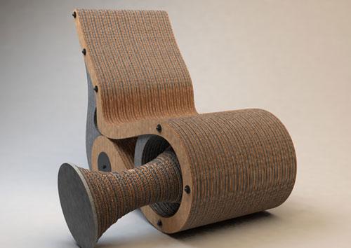 Дизайнерское кресло на основе картона