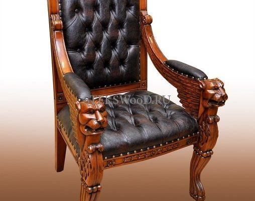 Эксклюзивное кресло ручной работы из массива красного дерева