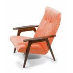 Коралловое мягкое кресло из массива