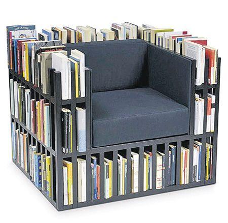 Креативный дизайн кресла из книг
