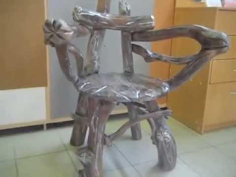 Кресло из коряги, созданные для сада