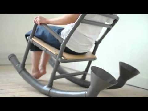 Кресло-качалка из пластиковых труб