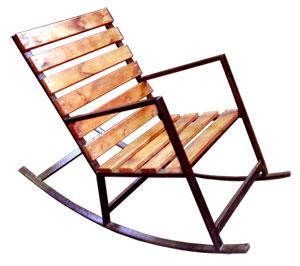 Кресло качалка, созданная из труб