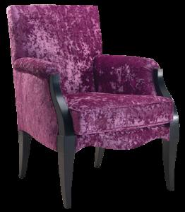 Кресло под старину с обивкой пурпурного цвета