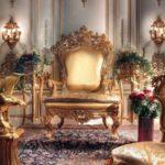 Оригинальное золотое кресло для обустройства дома