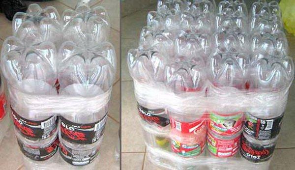 Применение бутылок для создания кресла