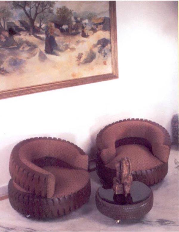 Примеры кресел, созданных из колес
