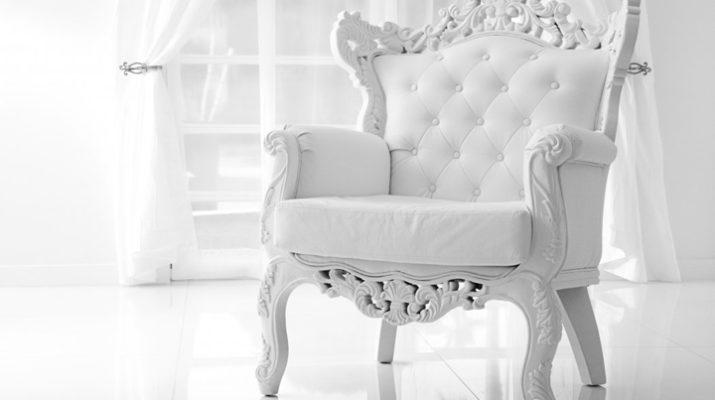 Шикарное кресло в белом цвете