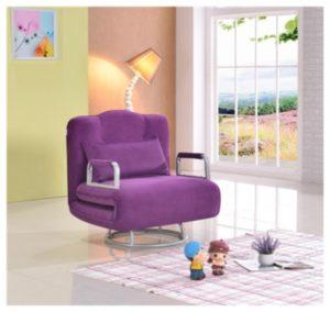 Широкое и красивое кресло фиолетового цвета