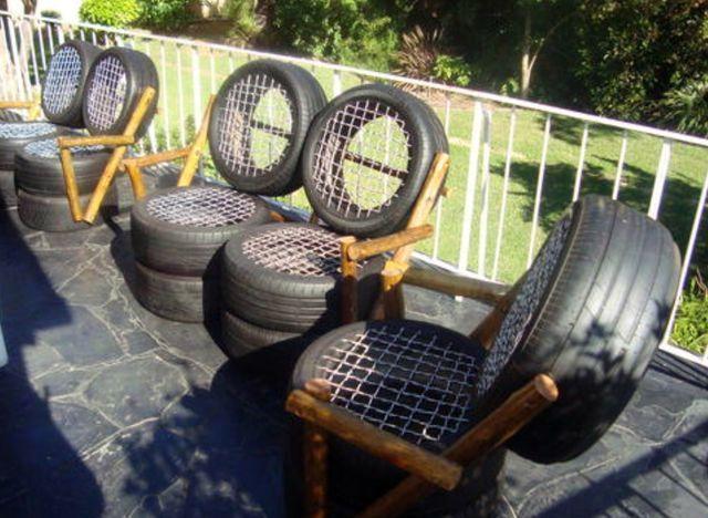 Садовое кресло, созданное из колес