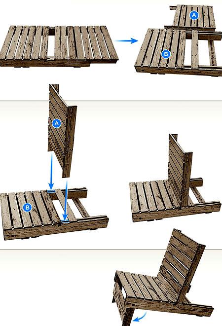 Схема как сделать кресло из поддона