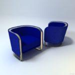 Стильное и современное синее кресло для интерьера дома