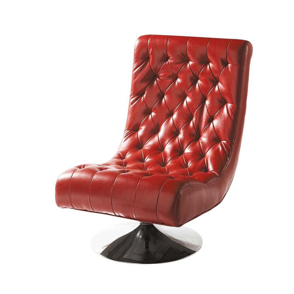 Темное красное кресло с кожаной обивкой