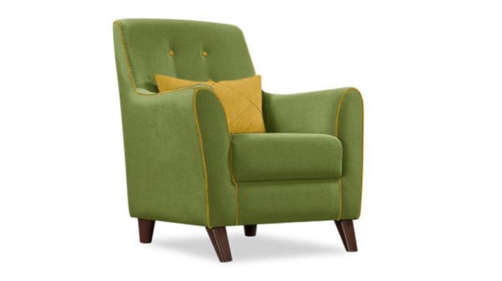 Тканевое кресло в оливковом цвете