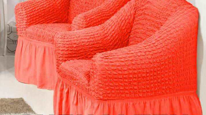 Удобные мягкие кресла, оформленные в коралловом цвете