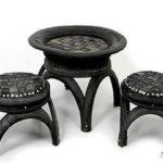 Кресла из колес для оформления приусадебной территории