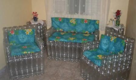Варианты кресла из бутылок