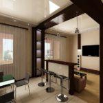 Эффектное зонирование маленького помещения