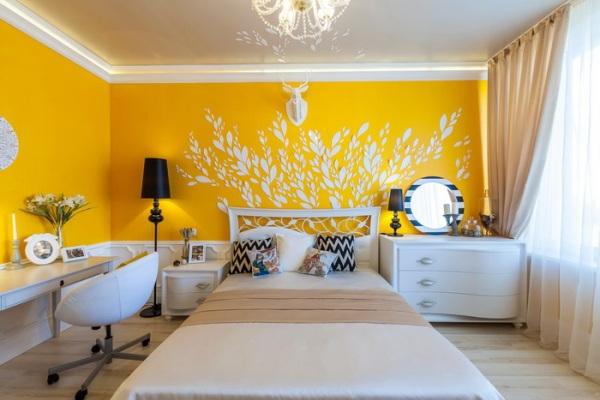отделка-стен-спальни-краской