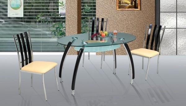 Стол 1670 хром/дерево/стекло